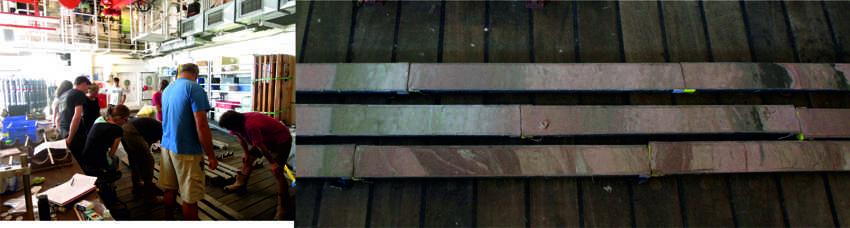 Abb 3: Intensive Diskussion der Kerne (links) die den Übergang von einem Schuttstrom (unten rechts) über leicht deformierte Sedimente (oben rechts) zu ungestörten Hintergrund- Sedimenten zeigen (Mitte rechts). Photos: Heiko Jähmlich und Russell Wynn.