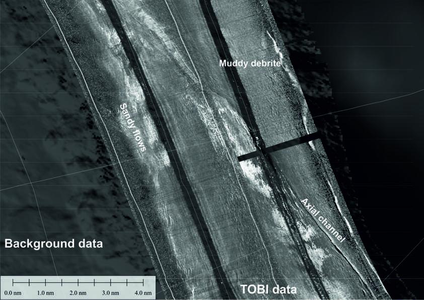 Abb. 2: TOBI Daten vom Boden des Agadir-Canyons.