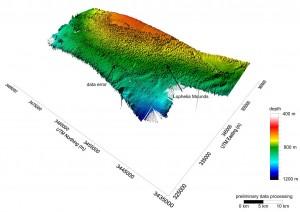 Abb. 2: Bathymetrische Karte des Kaltwasser-Korallengebiets.