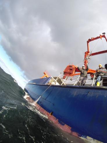 CTD probe going outboards. Photo: Burkhard von Dewitz