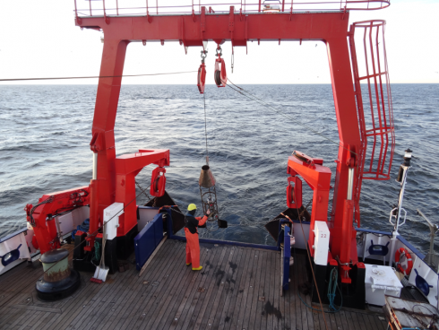 Towed CTD Probe going outboards for a transect. Photo:  Constantin Dransmann