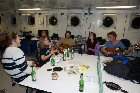 """""""The sprat song"""" - jam session on board. Photo: S. Mees"""