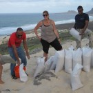 Filling sand sacks for weighing the dust sampling construction