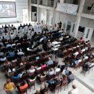 Die Halle kann auch für Veranstaltungen genutzt werden, wie hier beim Internationalen Workshop on Marine and Atmospheric Science in West Africa / The main hall can also be used for events and conferences. Photo: Jan Steffen/GEOMAR