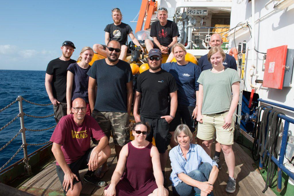 JAGO-Die Fahrtteilnehmer der POSEIDON-Reise POS532. The Participants of POSEIDON cruise POS532. Photo: JAGO-Team/GEOMAR
