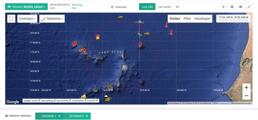 Aktueller Screenshot vom GEOMAR Navigator navigator.geomar.de