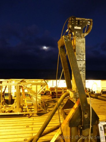 The box corer onboard the German research vessel SONNE during the SO242-1 expedition.