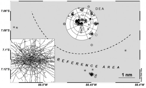 The working area of cruise SO242 (water depth approx. 4150 m). The symbols represent sampling positions during previous cruises to the DISCOL Experimental Area (DEA). White parts indicate the disturbed area. The insert shows disturbance tracks of the 'deep-sea plough' tows in 1989. The exact positions of stations will be defined based on the habitat maps obtained during SO242-1. Map after Borowski, 2001 (DSR II 48: 3809-3839).