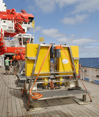 The elevator is used to bring equipment to the seafloor.