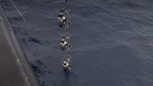 Three In Situ Pumps ready to get lowered to bottom waters at 4100 m water depth (photo: Manfred Schulz TV & Film)