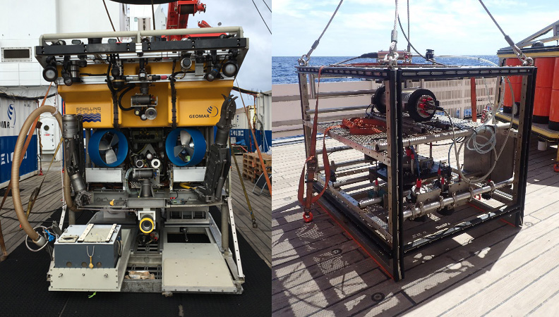 Fig 1: The Remotely Operated Vehicle (ROV) Kiel 6000 und OFOS. (Ocean Floor Observation System) / Das ROV (Remotely Operated Vehicle) Kiel 6000 und das OFOS (Ocean Floor Observation System). Photos: OFOS: Yasemin Bodur (MPI), ROV: Sofia Ramalho (IMAR)