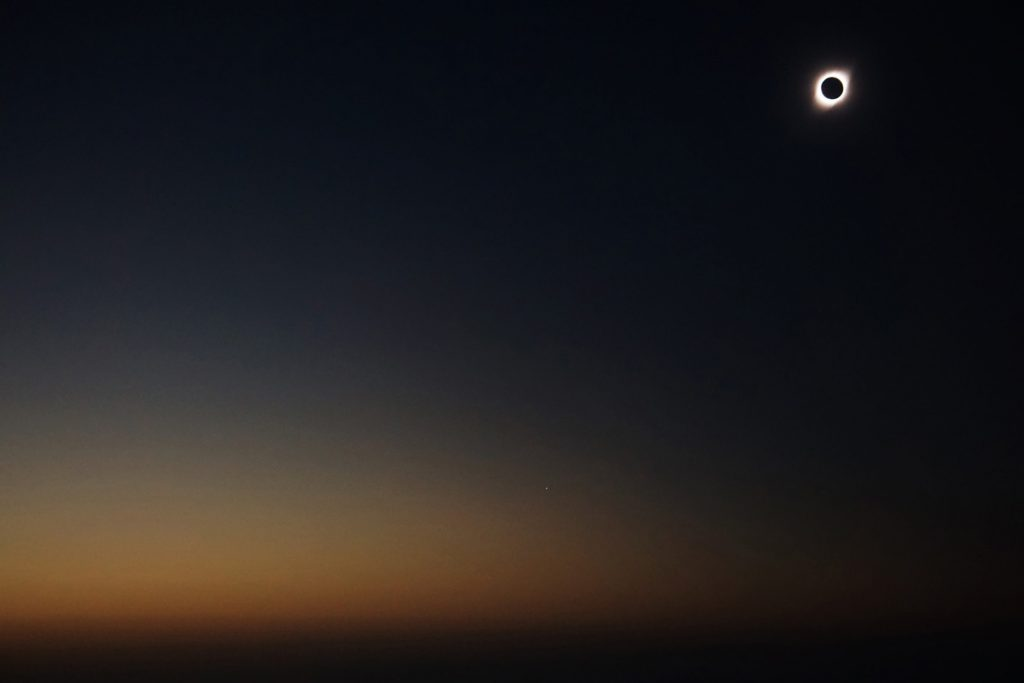 Corona of the sun around the shape of the moon at the total eclipse of the 2nd of July (Photo: Jonas Barkhau)