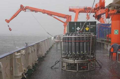 Figure 3. Heavy rain rinses the CTD rosette off Angola.