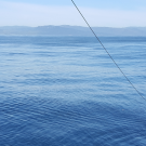 Catamaran trawl, collecting particles and microplastics from the sea surface in the strait of Gibraltar, between the Mediterranean Sea and Atlantic Ocean