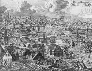 """""""Erschreckliche Wasserfluth"""": Contemporary copper print of the Burchardi Flood in 1634"""