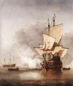 A typical naval history painting (Willem van de Velde, c. 1680; Rijksmuseum Amsterdam)