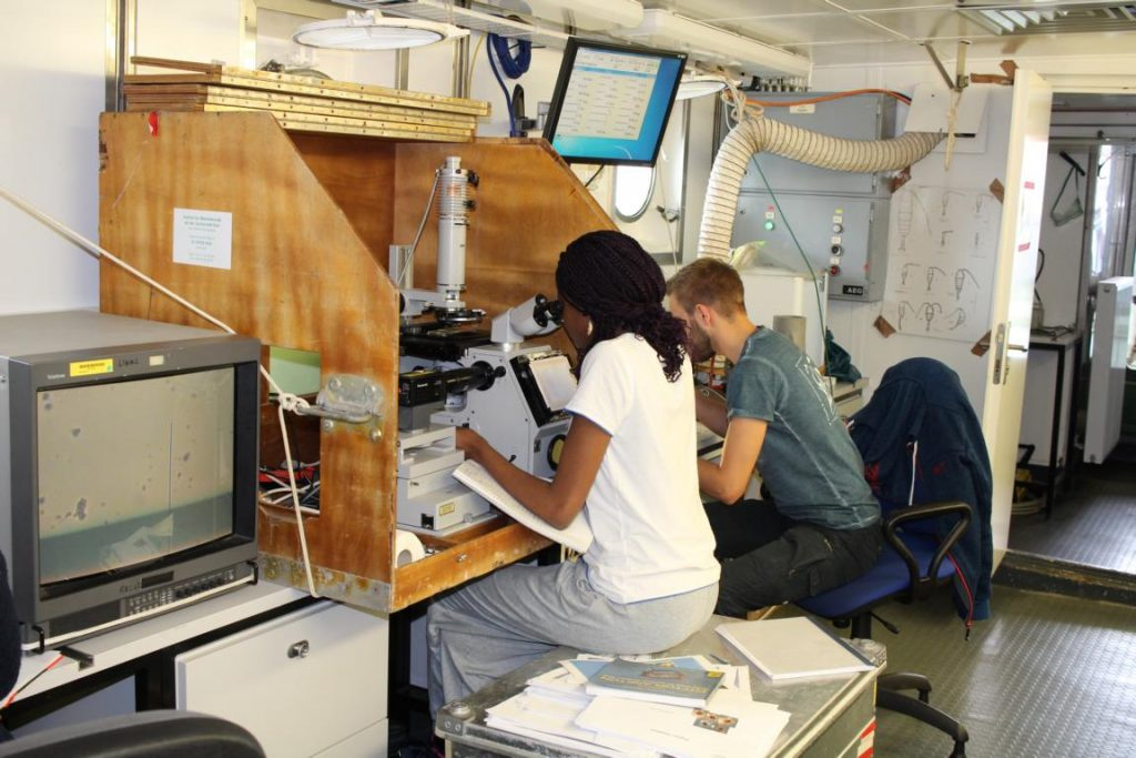 Leila Kittu analysing phytoplankton samples using a converted microscope. Photo by Nora-Charlotte Pauli