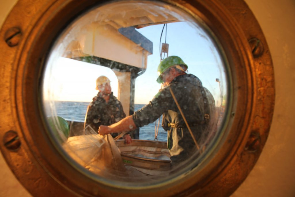 Raising the WP3 plankton net back to the deck (Photo by Vanessa Lampe)