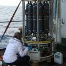 Abfüllen des Tiefenwassers aus dem Wasserprobensammler. Foto: Constanze Bückner