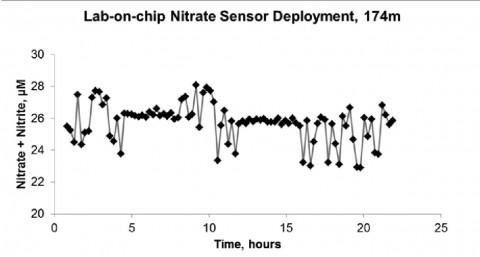 """Abb. 1: Zeitserie der Nitrat und Nitrit-Konzentration im Bodenwasser, die mittels eines """"Lab on the Chip"""" (LOC) in einer Wassertiefe von 174 m gemessen wurde. Hierzu wurde das LOC für ca. 24 hr in einem Lander am Meeresboden verankert."""