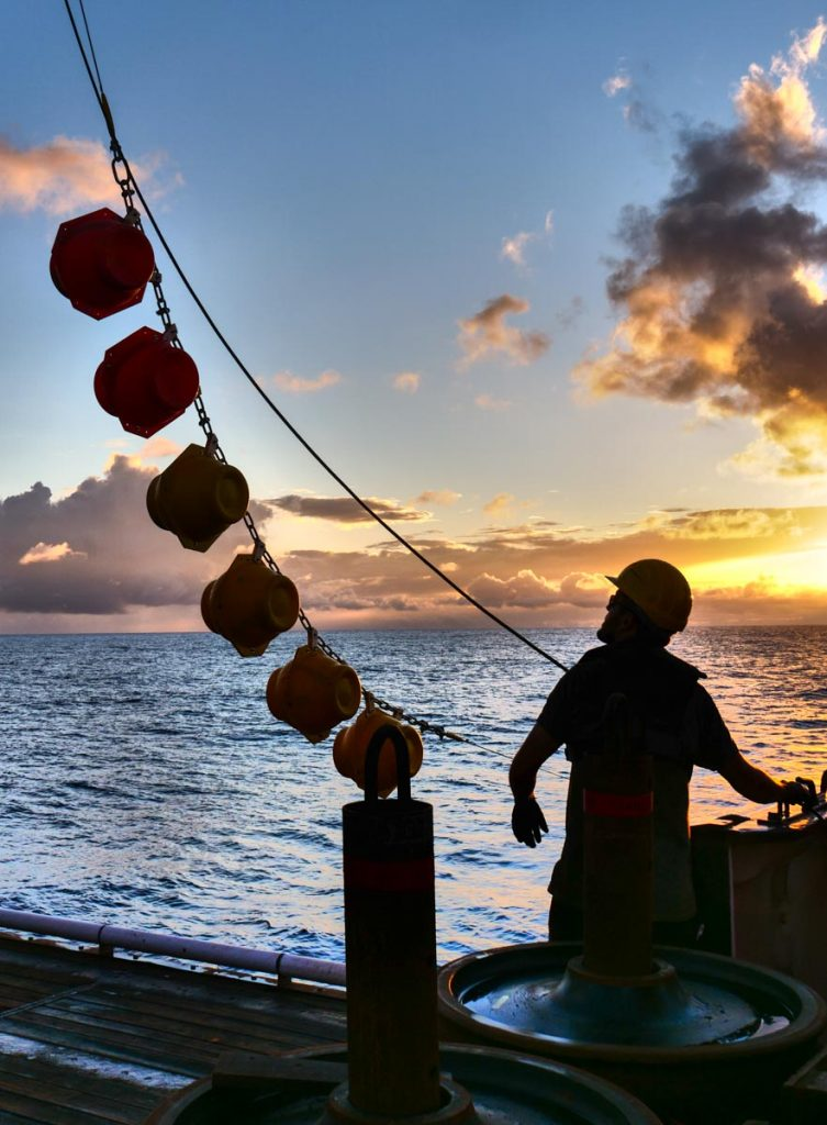 Recovering a mooring. Photo by Martin Visbeck.