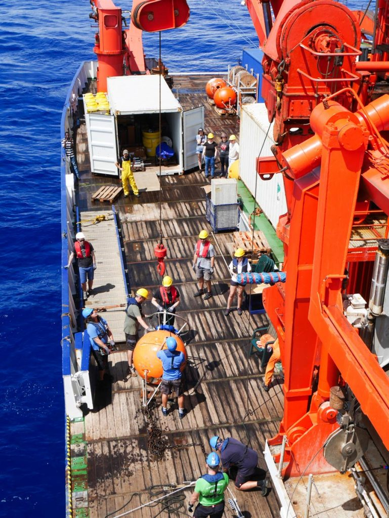 View of the working deck of RV METEOR. Photo by Martin Visbeck
