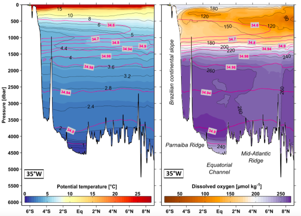 Figure 1: Mean distributions of temperature and oxygen (salinity is overlayed in magenta) along the 35°W meridian –from the Brazilian coast northward. These sections represent the average of 12 previous cruises (1990-2004) along this route and nicely show the different patches of properties characterizing different water masses (Herrford et al., 2017).