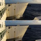 Wave action of the port-side bow. (Photos by Meike)