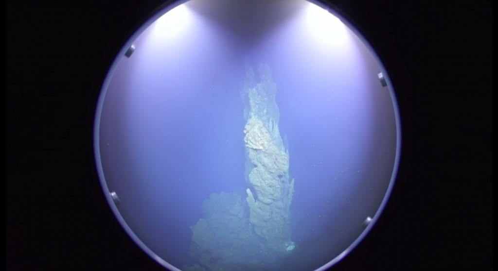 Screenshot from Live ROV-Video (via youtube.com) with hydrothermal vents
