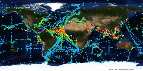 Fig2.: Distribution of aerosols over oceans. Higher values (in the colours yellow, orange, red and pink) in the Atlantic indicate the dust from the Sahara and the Passat wind. / Abb.2: Die Aerosolverteilung auf den Weltmeeren. Die höheren Werte (in den Farben Gelb, Orange, Rot und Pink) im Atlantik zeigen den Sahara Staub des Passat Windes an (Foto: Screenshot von http://aeronet.gsfc.nasa.gov/new_web/maritime_aerosol_network.html).