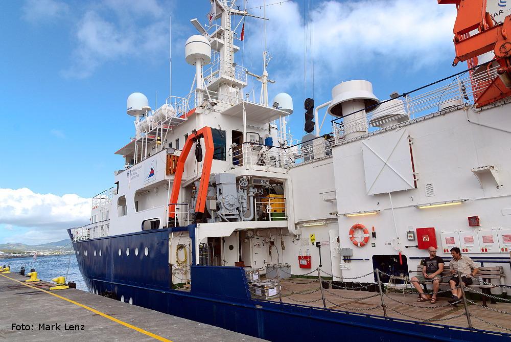 Die FS POSEIDON im Hafen von Ponta Delgada auf den Azoren. Foto: Mark Lenz/GEOMAR