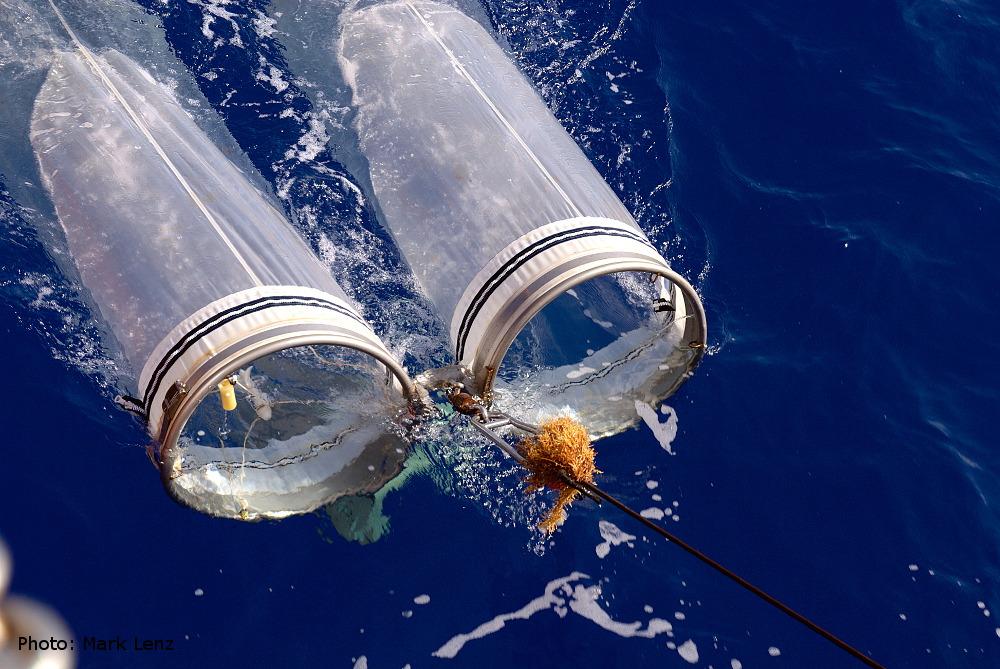 Das Bongo-Netz taucht beim Einholen seitlich vom Schiff wieder aus dem Wasser auf. Foto: Mark Lenz/GEOMAR