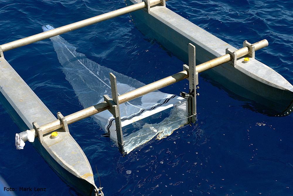 Das Netz mit der rechteckigen Öffnung ist zentral zwischen den Rümpfen des Katamarans aufgehängt. Foto: Mark Lenz/GEOMAR