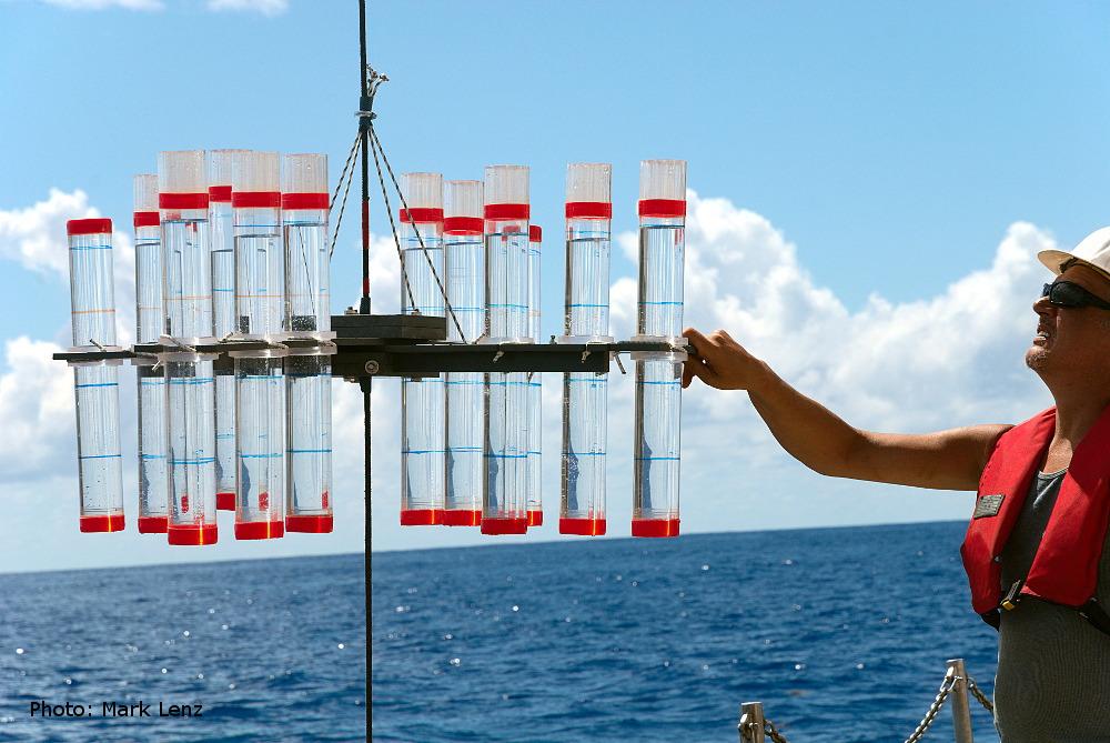 Die einzelnen Kreuze mit den Röhren werden dann nacheinander gehievt und dann seitlich vom Schiff hinabgelassen. Für jede der folgenden Tiefenstufen wurde ein solcher Aufbau am Seil befestigt: 50 m, 100 m, 150 m, 200 m, 300 m, 400 m, 500 m und 600 m. Foto: Mark Lenz/GEOMAR