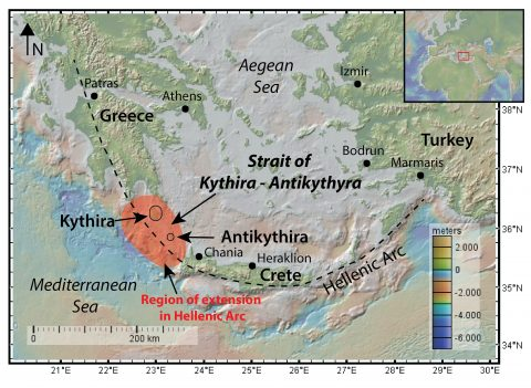 Map of the Strait of Kythira – Antikythyra showing the Hellenic Arc and the region of relative more extension and thinning that was eventually submerged and provided the seaway between mainland Greece and the island of Crete. Map: Anouk Beniest/UPMC
