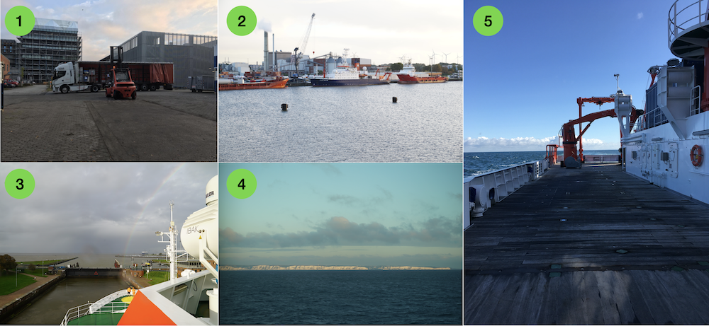 Five images: 1 logistics at GEOMAR, 2 RV Meteor in port, 3: passing the lock in Emden, 4: the english coast, 5: the free deck and endless horizon