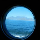 Leaving Cape Town- Bull´s eye view from the mess room of FS Meteor on the first day of MyScience-Cruise