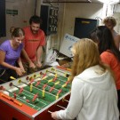 Training for the big table-soccer tournament. Photo: Anne Scherhag: