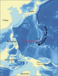 Das Challengertief ist mit 10.994 Metern die tiefste Stelle im Ozean. Sie befindet sich im südwestlichen Teil des Marianengrabens im Pazifik. (Quelle: Kmusser via wikimedia commons (CC-BY-SA-3.0))