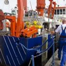 Das Forschungsschiff ALKOR kurz vorm Ablegen in Kiel. Ziel der Fahrt AL422: Den Sauerstoffmangel in der Ostsee zu analysieren. (Foto: Jan Steffen, GEOMAR)