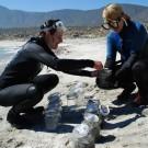 Die GAME-Studentinnen Vanessa Rüttler und Valeria Hidalgo-Ruz sammeln Mikroplastik-Proben am Strand in der Nähe von Coquimbo, Chile. (Foto: Vanessa Rüttler, GEOMAR)