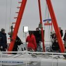 Unser erster Dreh: Eisiger Wind auf der Kieler Förde. Foto: Maike Nicolai, GEOMAR