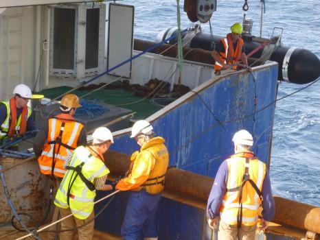 """An Bord des Neuseeländischen Forschungsschiffes """"Tangaroa"""". Foto: Sebastian Krastel"""