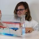 Im vereinfachten Vorexperiment zeigt Milla vom Gymnasium Kronshagen wie sich Flüssigkeiten unterschiedlicher Dichte im simulierten Ozean verhalten. Fotos: B. König, GEOMAR