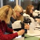 Betreuerin Katja, Jule und Linnea (v. l.) untersuchen mit dem Lichtmikroskop Wasserproben. Foto: B. König, GEOMAR