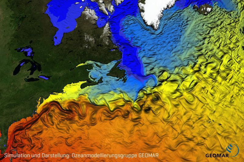 Schwächelt der Golfstrom oder nicht? Diese Darstellung zeigt eine Momentaufnahme der Oberflächenströmung im Nordatlantik anhand der Oberflächentemperaturen im Ozeanmodell ORCA12. Simulation und Darstellung: Ozeanmodellierungsgruppe GEOMAR