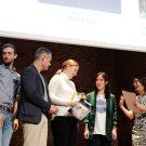Bei der Preisverleihung des Fastforward Science Video-Wettbewerbs. Luisa Linkersdörfer (3. v. r.) überzeugte die Jury mit ihrer Begeisterung für skurrile Kleinstlebewesen in der Ostsee. Foto: Jan Steffen