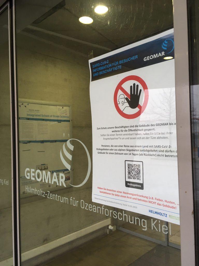 Auch am GEOMAR gelten strenge Kontaktbeschränkungen / Strict contact restrictions also apply to the GEOMAR. Photo: Jan Steffen/GEOMAR