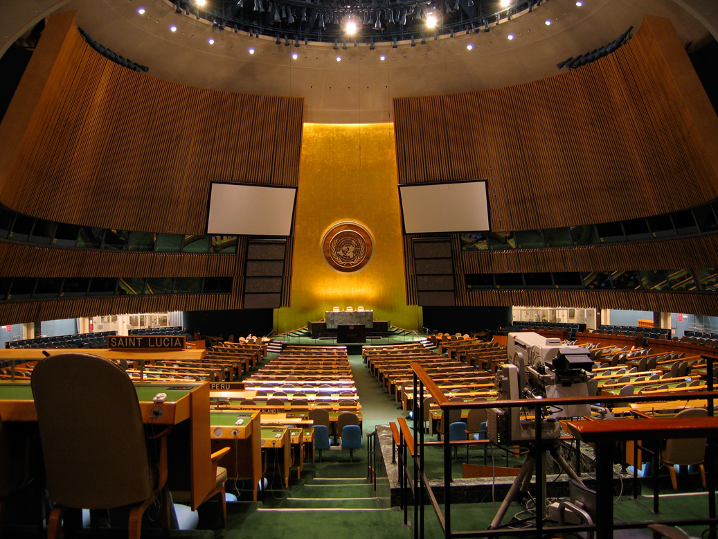 United Nations General Assembly chamber. Image: Chris Erbach via wikimedia commons (CC-BY-SA-3.0)