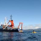 After deployment, research submersible JAGO is towed towards his diving position. Photo: Maike Nicolai, GEOMAR